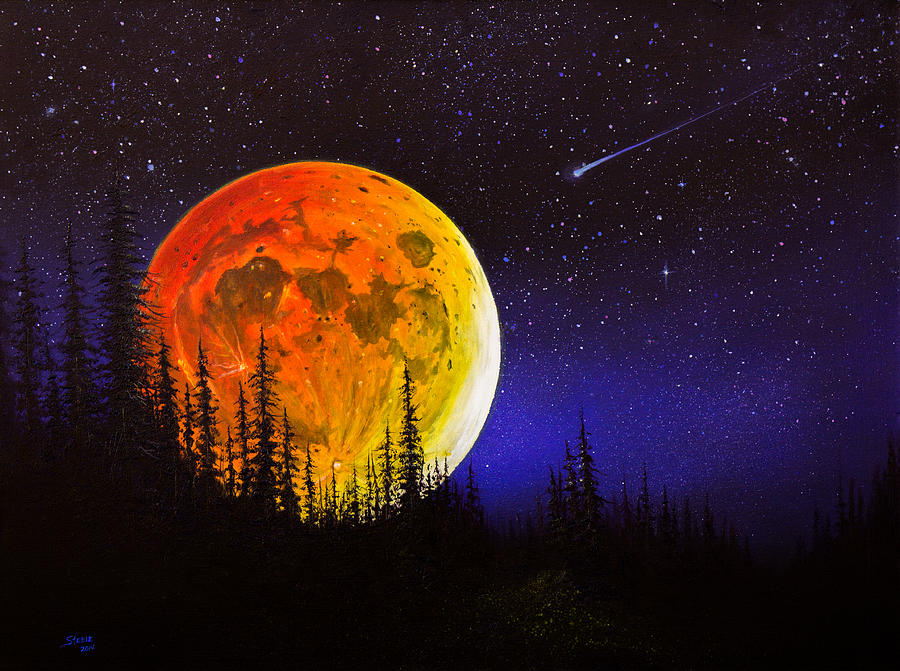 Hunter S Harvest Moon Painting By C Steele
