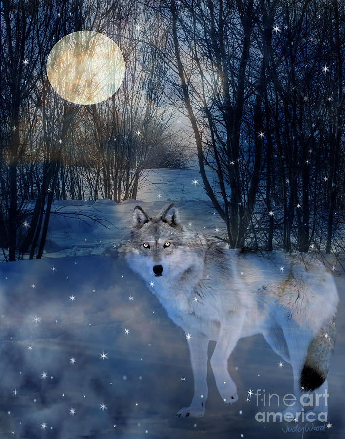 Wolf Digital Art - Hunters Moon by Judy Wood