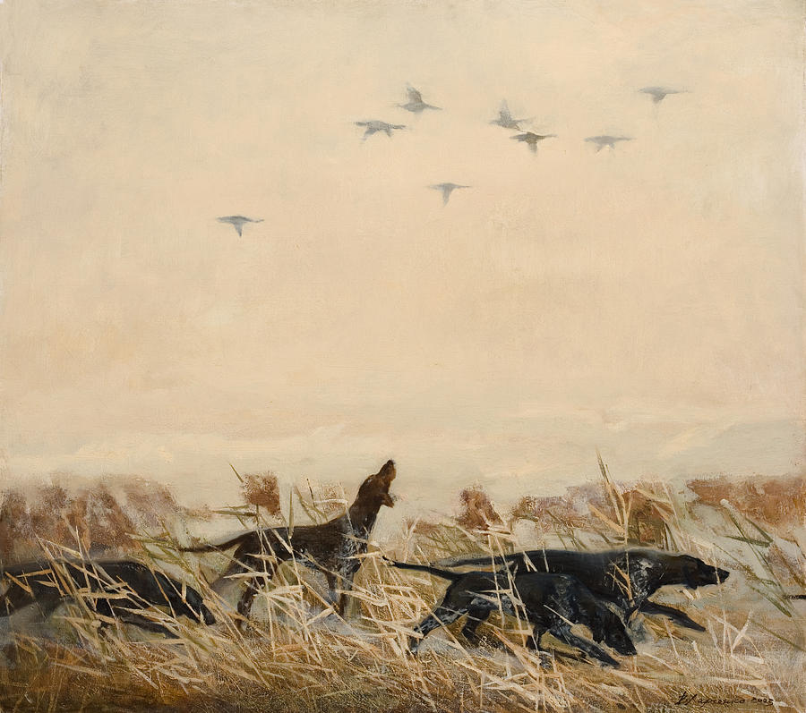Dogs Painting - Hunting by Victoria Kharchenko