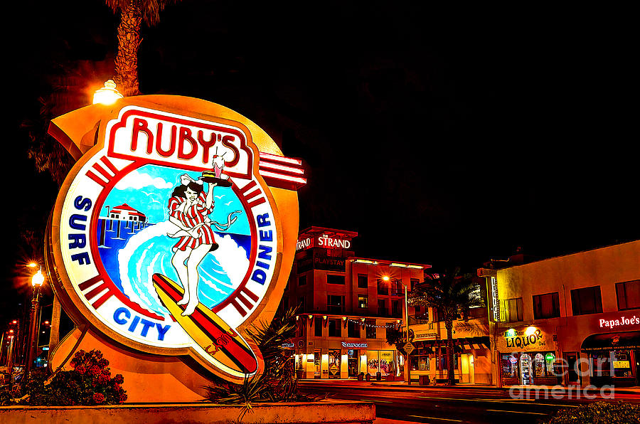 Huntington Beach Downtown Nightside 2 Photograph  - Huntington Beach Downtown Nightside 2 Fine Art Print