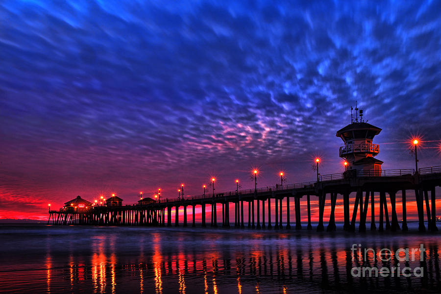 Huntington Beach Pier At Night Photograph  - Huntington Beach Pier At Night Fine Art Print