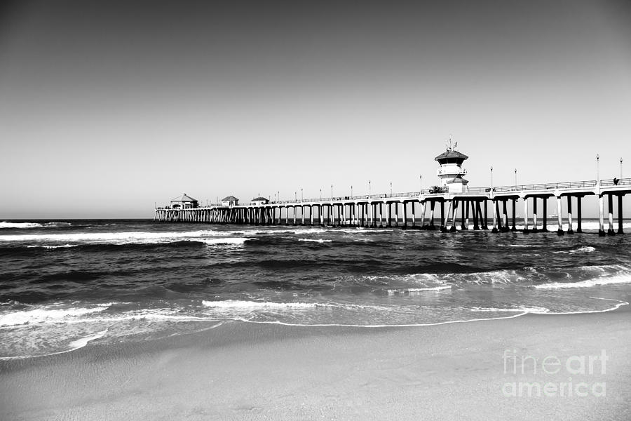 Huntington Beach Pier Black And White Picture Photograph