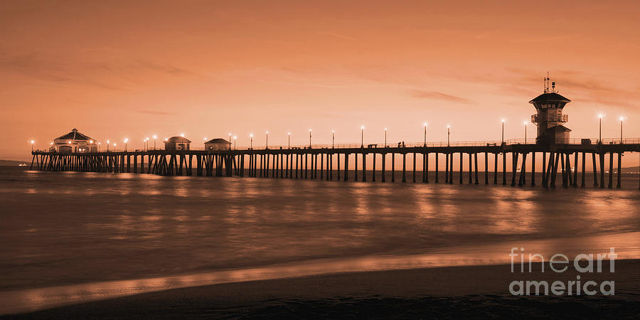 Huntington Beach Pier - Twilight Sepia Photograph  - Huntington Beach Pier - Twilight Sepia Fine Art Print