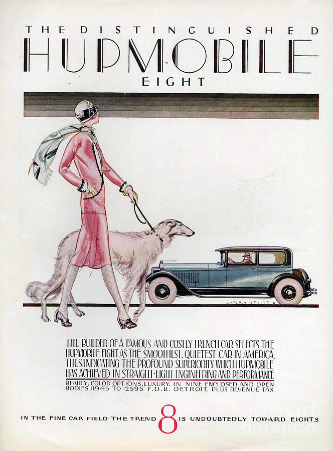 1920�s Drawing - Hupmobile  1926 1920s Usa Cc Cars Dogs by The Advertising Archives