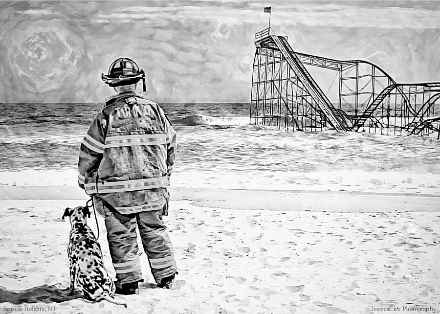 Hurricane Sandy Black And White Photograph