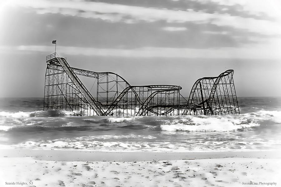 Hurricane Sandy Jetstar Roller Coaster Black And White Photograph  - Hurricane Sandy Jetstar Roller Coaster Black And White Fine Art Print