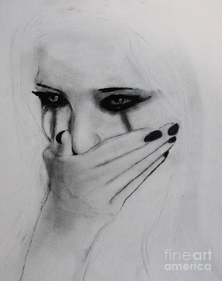 Hurt Drawing By Michael Cross