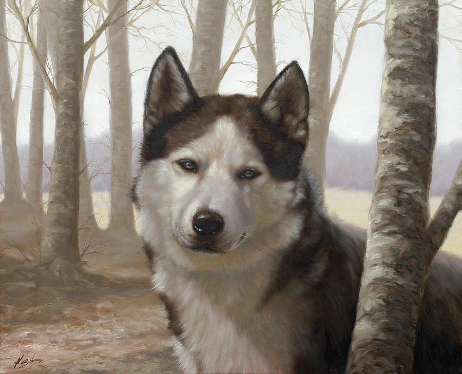 Husky In The Woods Painting