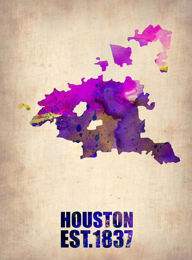 Huston Watercolor Map Digital Art