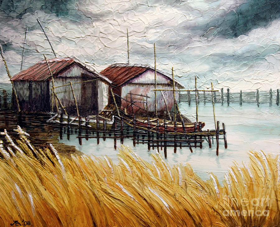 Huts By The Shore Painting  - Huts By The Shore Fine Art Print