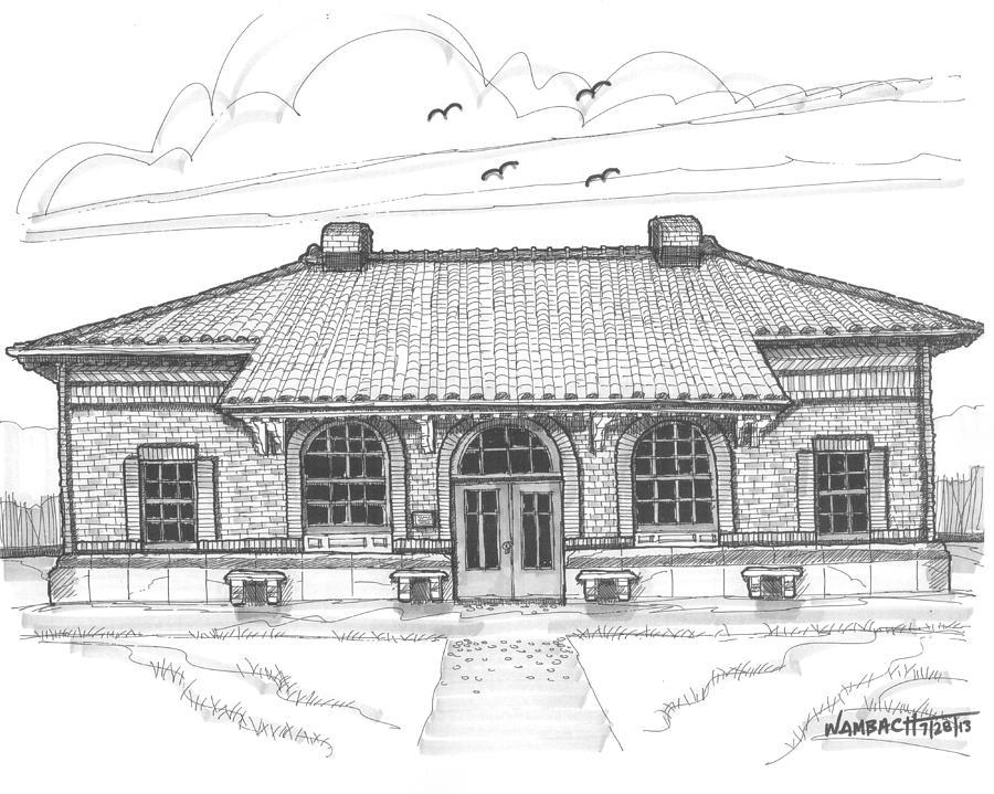 Hyde Park Historic Train Station Drawing by Richard Wambach