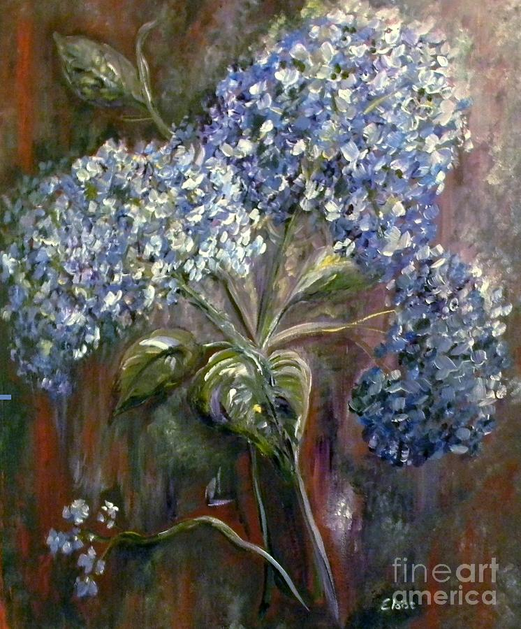 Hydrangea Bouquet At Dawn Painting  - Hydrangea Bouquet At Dawn Fine Art Print