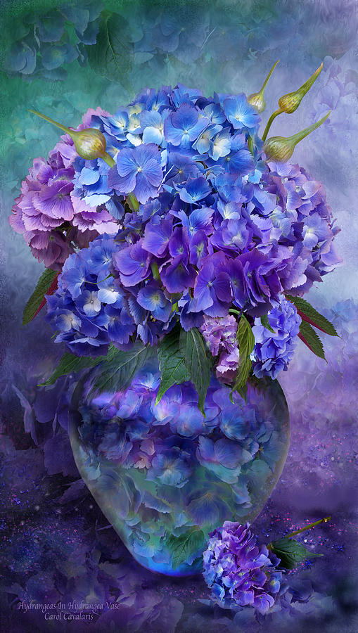 Hydrangeas In Hydrangea Vase Mixed Media  - Hydrangeas In Hydrangea Vase Fine Art Print