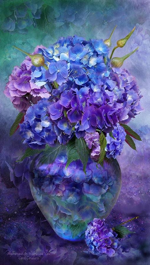 Hydrangeas In Hydrangea Vase Mixed Media