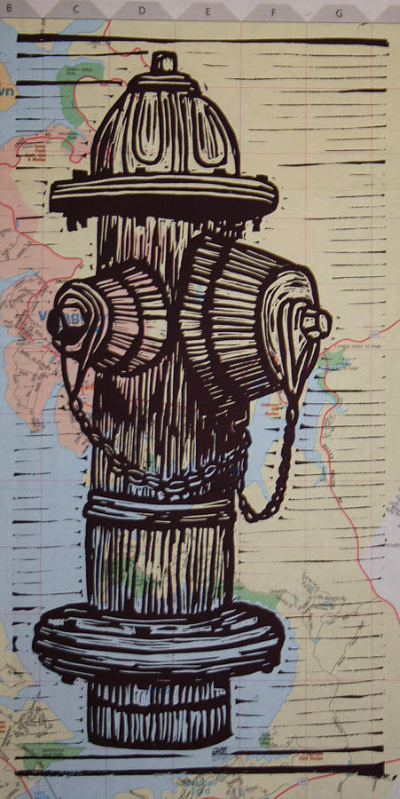Hydrant On Map Drawing  - Hydrant On Map Fine Art Print