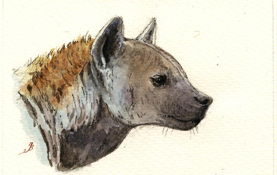 Hyena Head Study Painting
