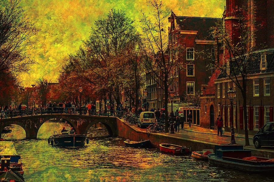 I Amsterdam. Vintage Amsterdam In Golden Light Photograph