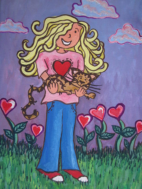 Girl Hoding A Cat Painting - I Love My Cat by Cherie Sexsmith