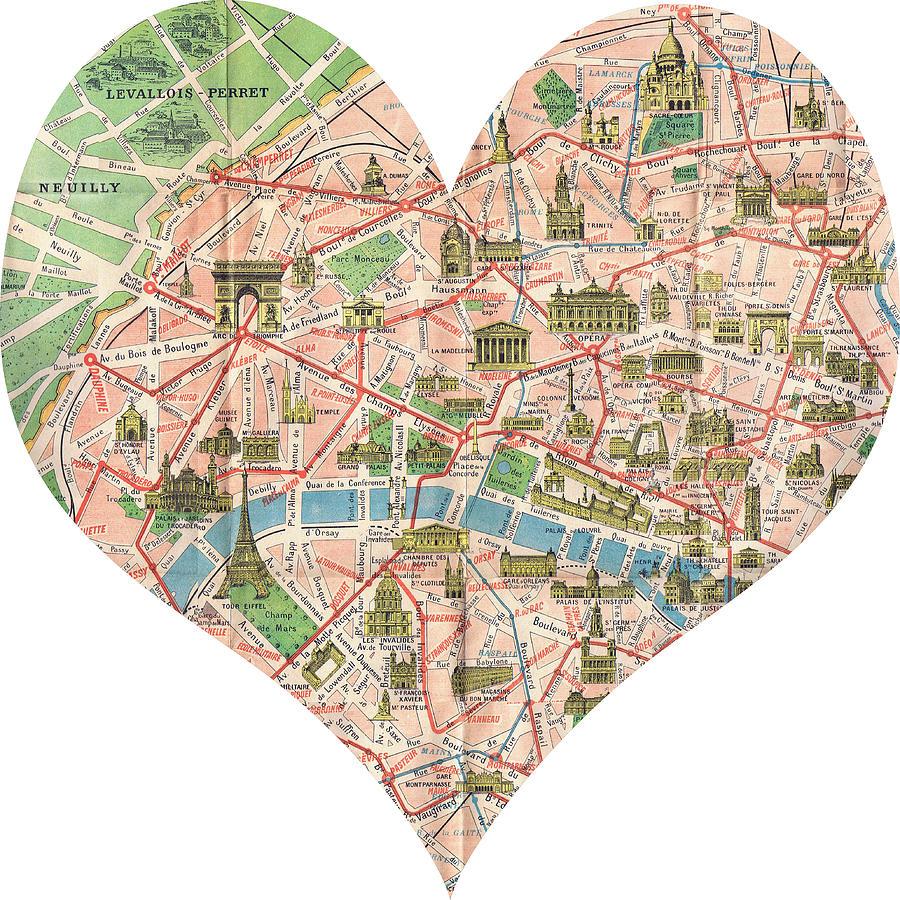 I Love Paris Heart Map Photograph By Georgia Fowler