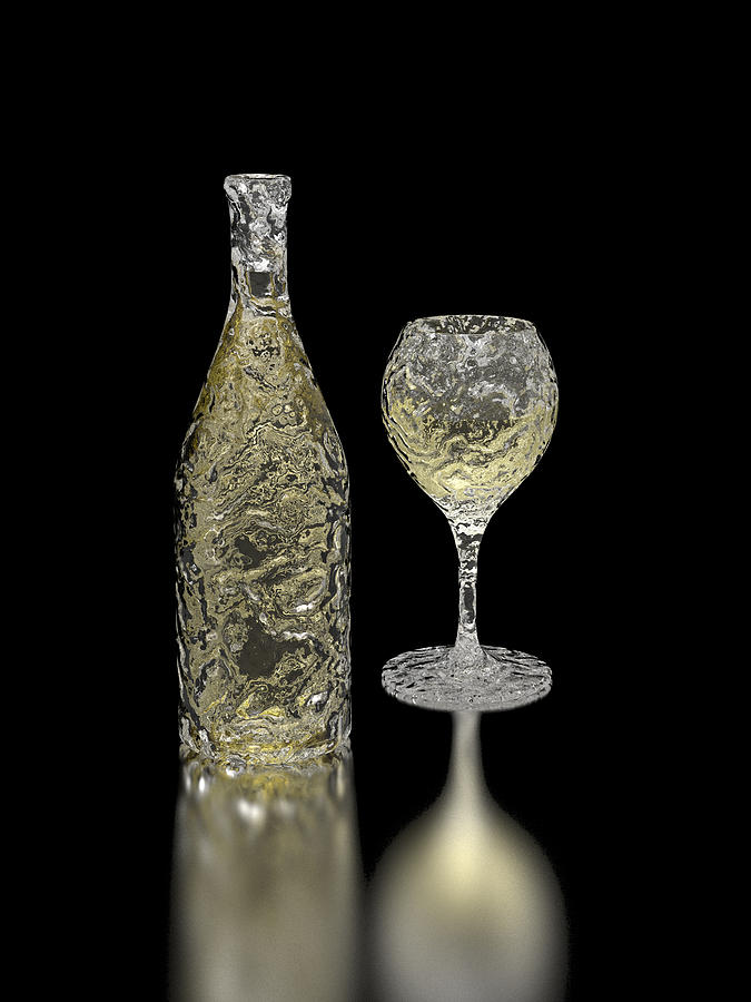 Ice Bottle And Glass Digital Art
