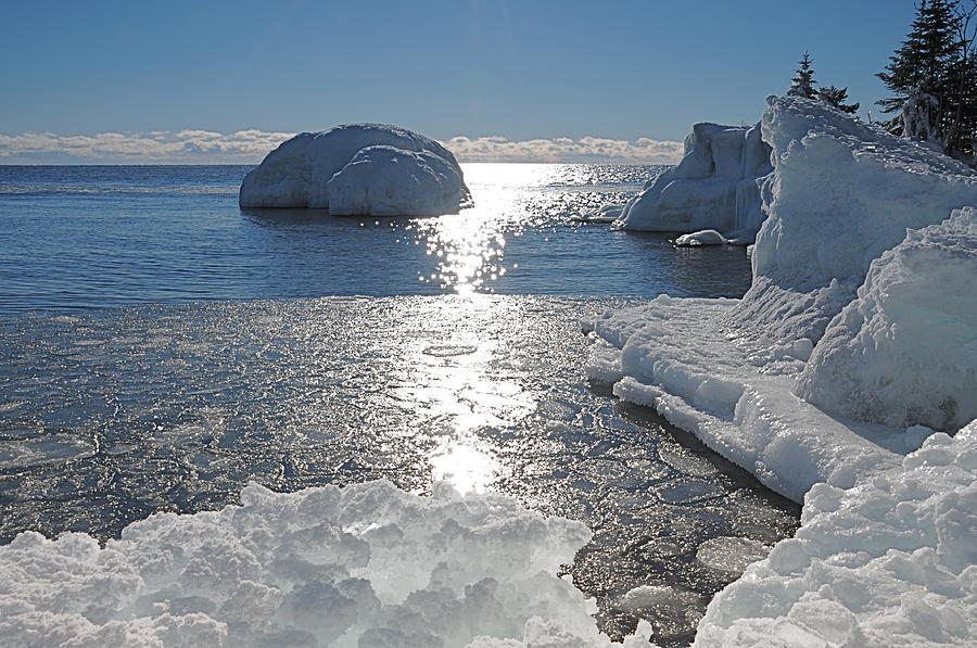 Ice Photograph - Ice Cold Day On Lake Superior by Sandra Updyke