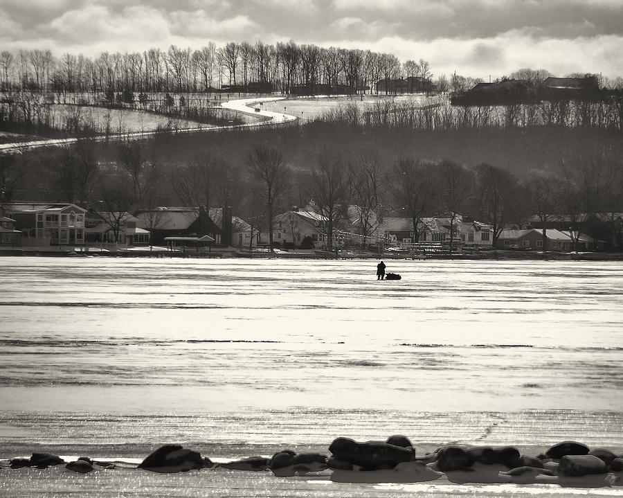 Ice Fisherman On Canandaigua Lake 2010 Photograph  - Ice Fisherman On Canandaigua Lake 2010 Fine Art Print