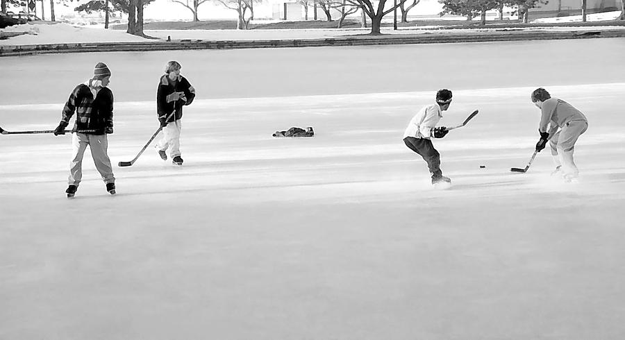 Ice Hockey - Black And White - Nostalgic Photograph  - Ice Hockey - Black And White - Nostalgic Fine Art Print