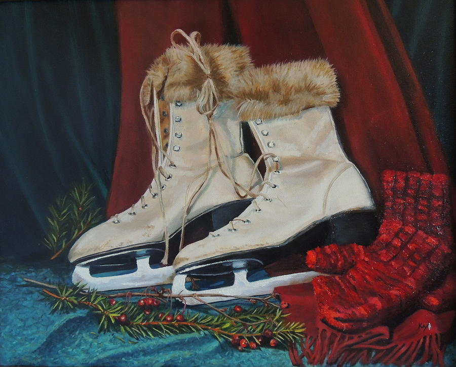 Ice Skates And Mittens Painting