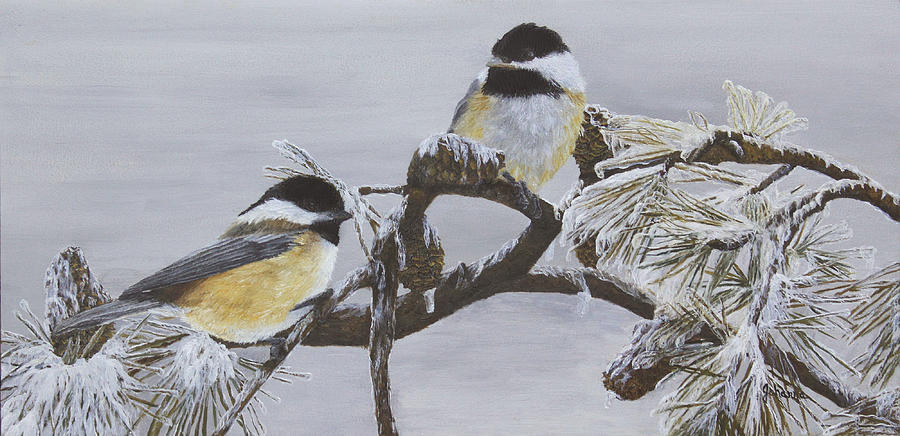 Ice Storm Chickadees Painting