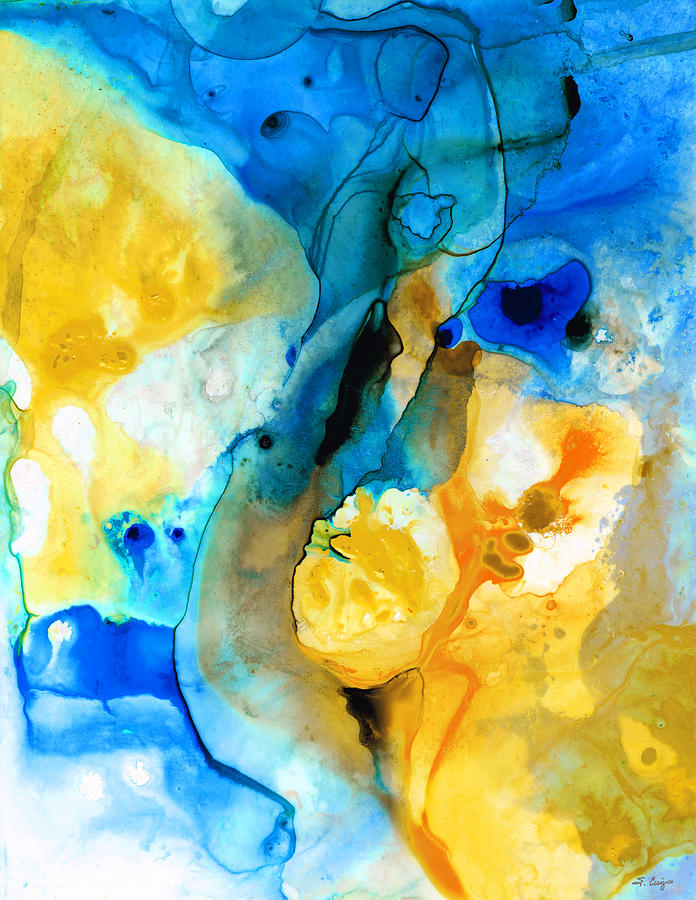 Iced Lemon Drop - Abstract Art By Sharon Cummings Painting