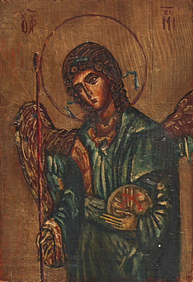 Icon Of Archangel Michael - Painting On The Wood Painting  - Icon Of Archangel Michael - Painting On The Wood Fine Art Print