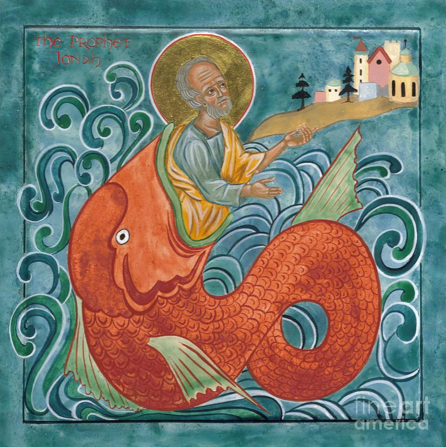 Icon Painting - Icon Of Jonah And The Whale by Juliet Venter