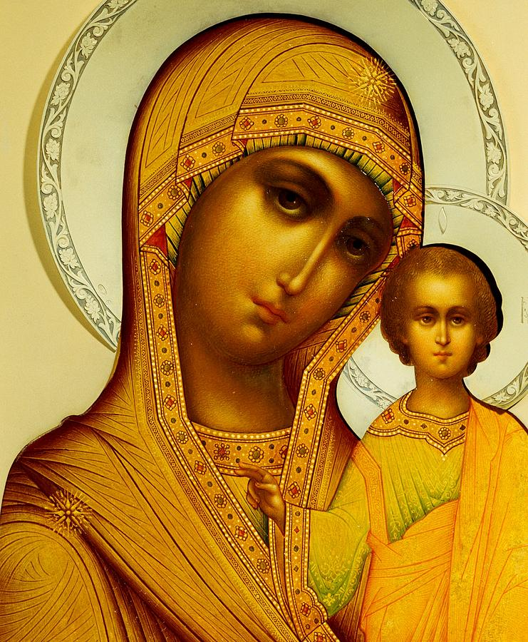 Virgin Mary; Madonna; Infant Christ; Jesus Christ; Ornate; Russian Orthodox Painting - Icon Of The Virgin Kazanskaya by Dmitrii Smirnov