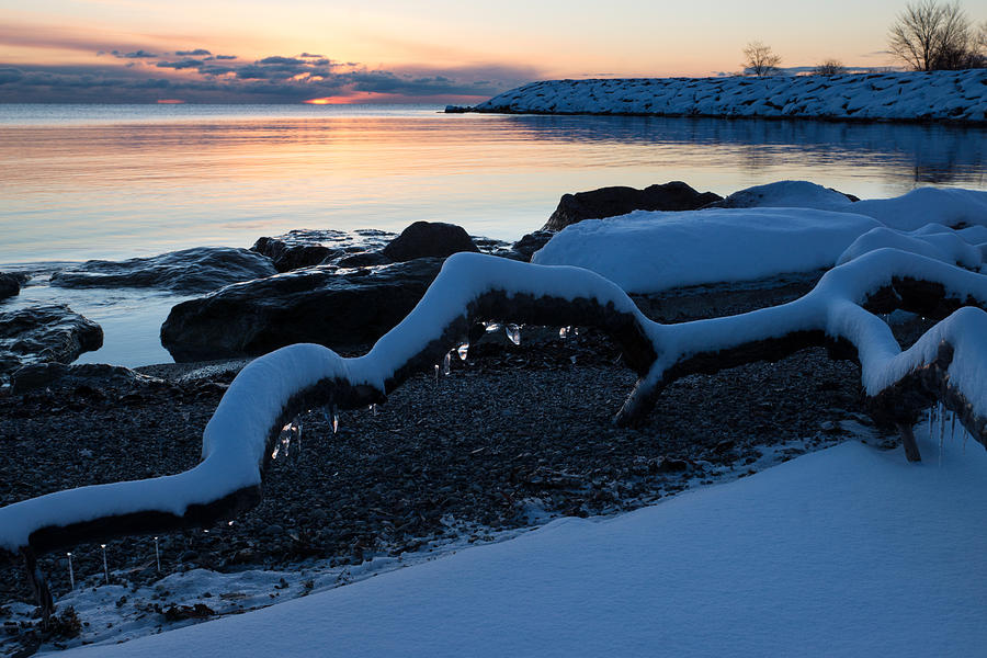 Icy Snowy Winter Sunrise On The Lake Photograph