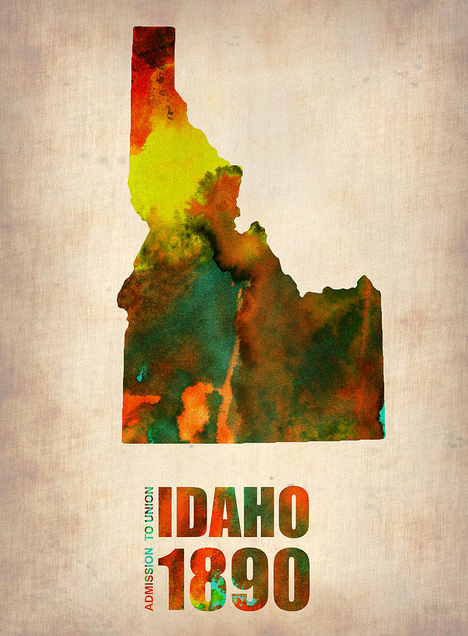 Idaho Watercolor Map Digital Art  - Idaho Watercolor Map Fine Art Print