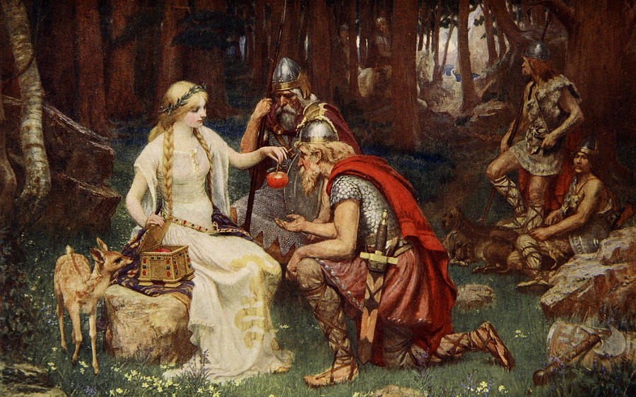 German Drawing - Idun And The Apples, Illustration by James Doyle Penrose