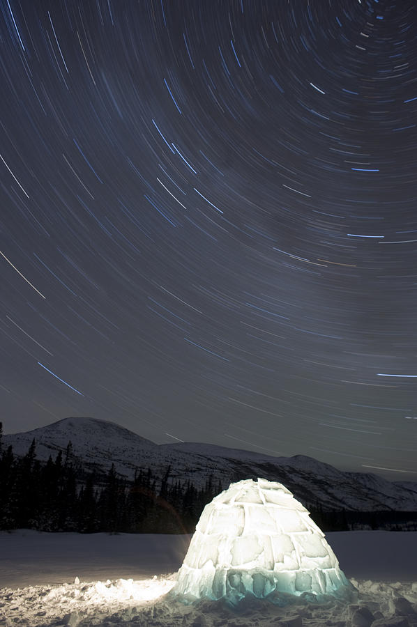 Igloo And Star Trails, Kusawa Lake Photograph  - Igloo And Star Trails, Kusawa Lake Fine Art Print