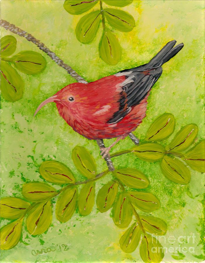 Hawaii Birds Painting - iiwi by Anna Skaradzinska