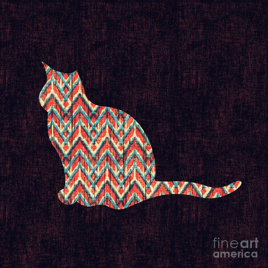 Ikat Cat Digital Art  - Ikat Cat Fine Art Print