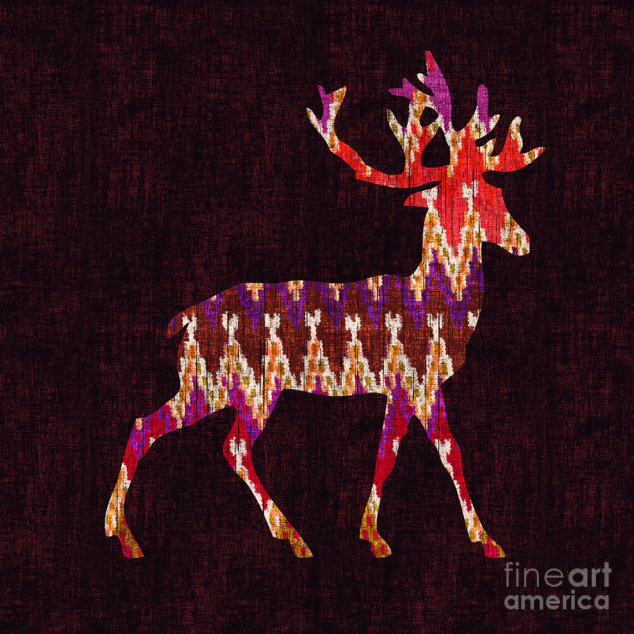 Ikat Deer Digital Art