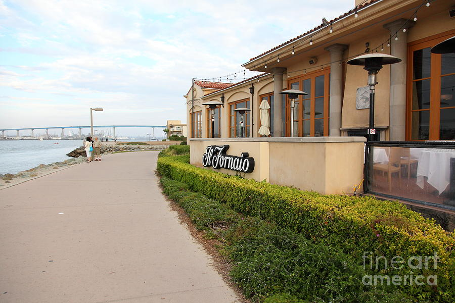 Il Fornaio Italian Restaurant In Coronado California Overlooking The San Diego Coronado Bridge 5d243 Photograph
