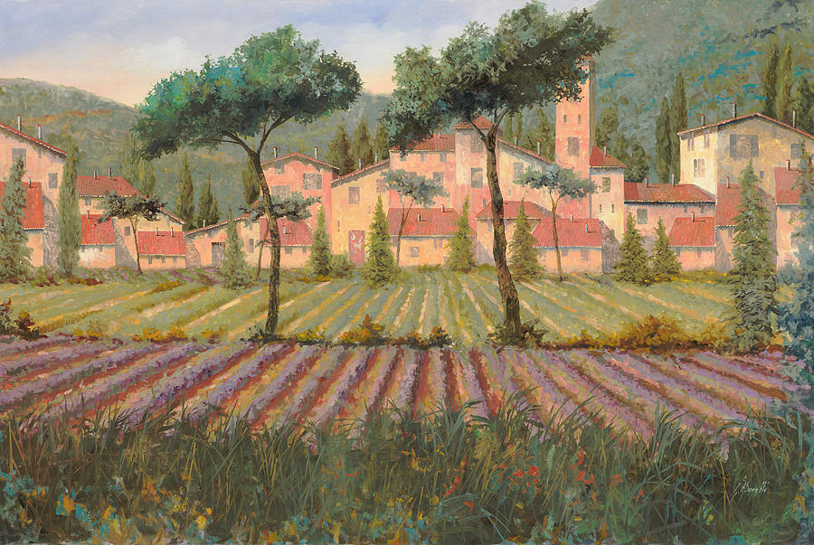 Lavender Painting - Il Villaggio Tra I Campi Di Lavanda by Guido Borelli