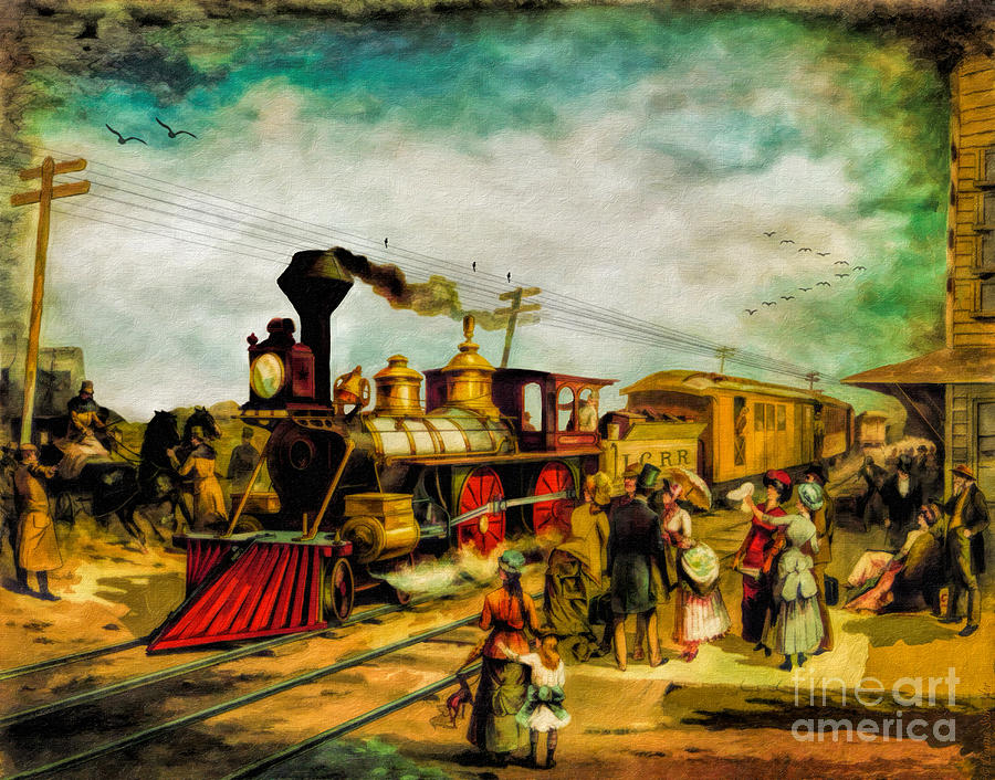 Railroad Digital Art - Illinois Central Railroad 1882 by Lianne Schneider