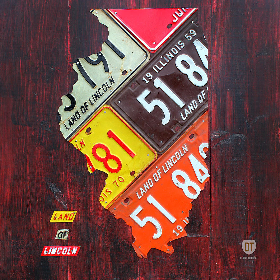 Illinois License Plate Map Chicago Lincoln Peoria Rockford Springfield Midwest Land Of Lincoln Skokie Waukegan Mixed Media - Illinois License Plate Map by Design Turnpike