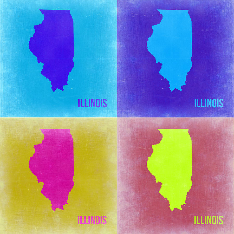 Illinois Map Painting - Illinois Pop Art Map 2 by Naxart Studio