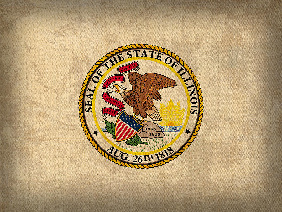 Illinois State Flag Art On Worn Canvas Mixed Media  - Illinois State Flag Art On Worn Canvas Fine Art Print