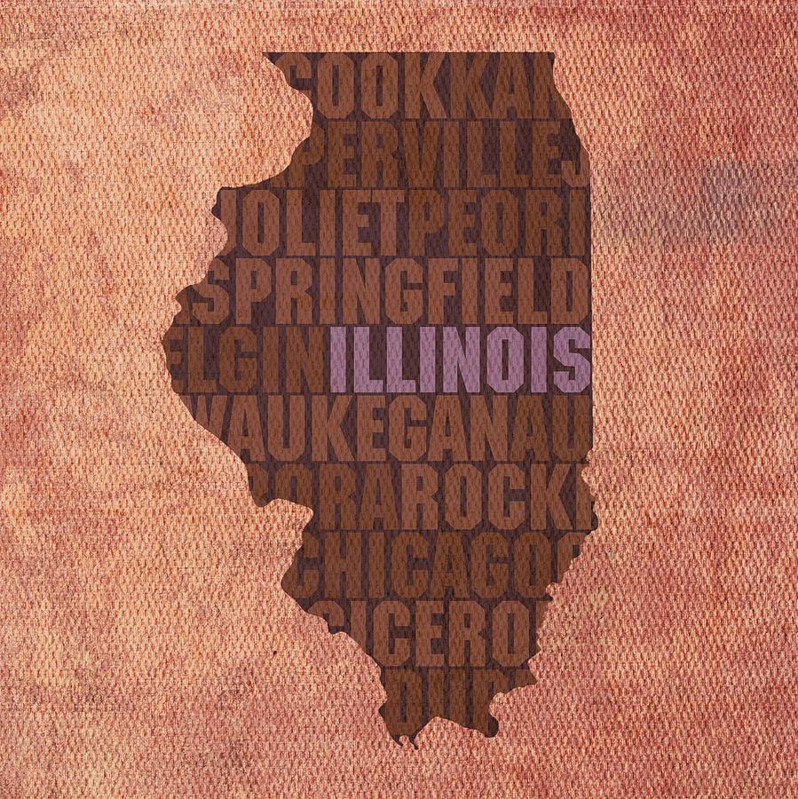 Illinois State Word Art On Canvas Mixed Media - Illinois State Word Art On Canvas by Design Turnpike