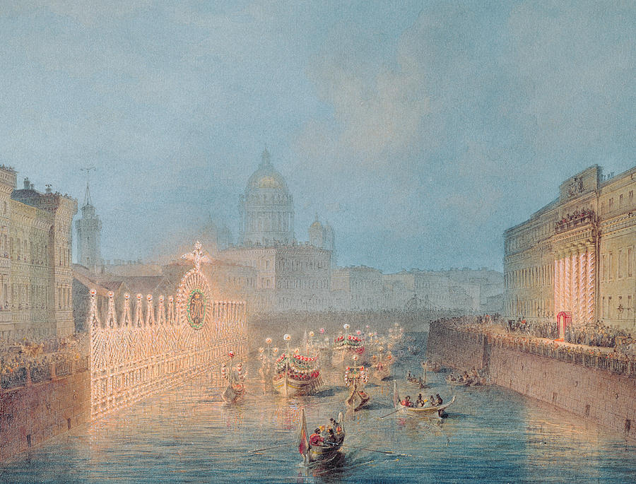 Illumination At The Moyka In St. Petersburg Painting