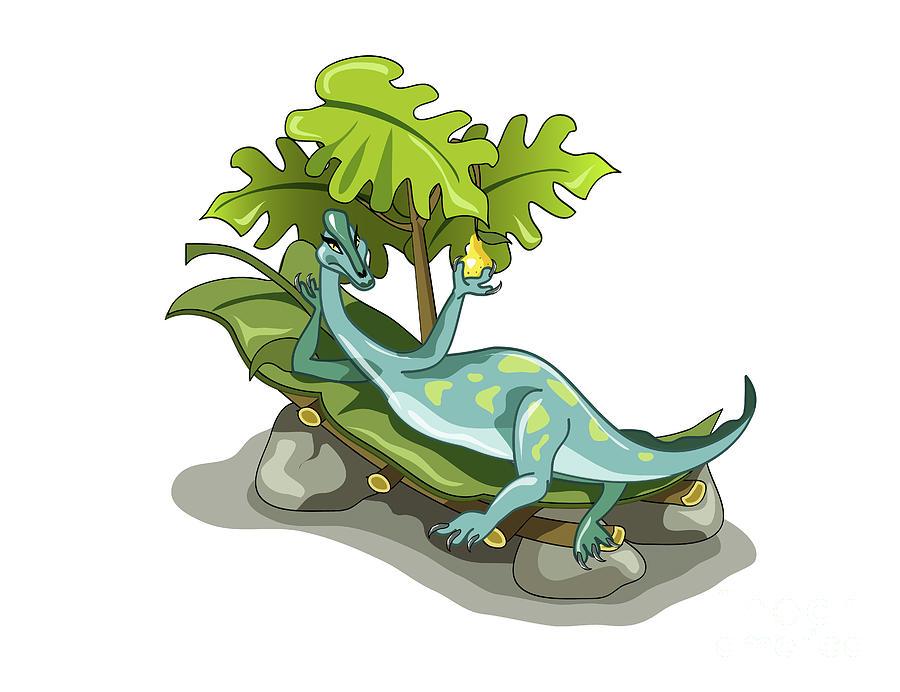 Illustration Of An Iguanodon Sunbathing Digital Art