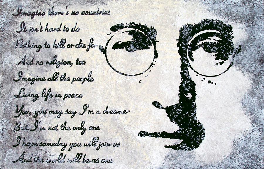 John Lennon Painting - Imagine-john Lennon by Bryan Dubreuiel